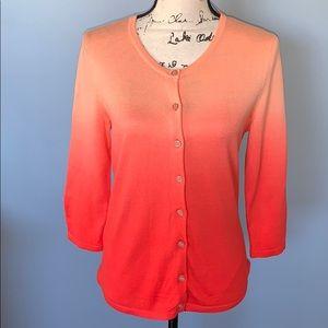 NY & CO orange fade 3/4 sleeves cardigan medium